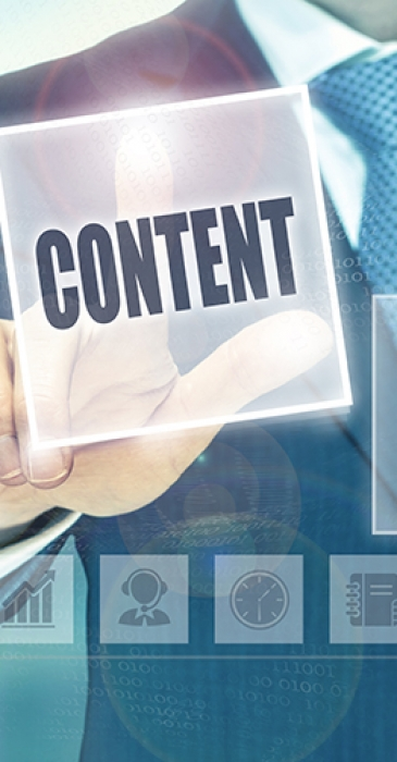 Businessman pressing an Content concept button.